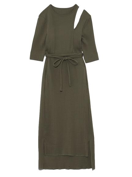 ショルダースリットカットドレス