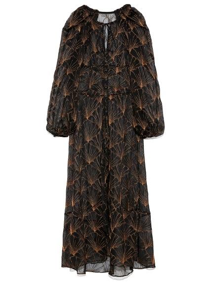 イチョウ柄 総刺繍 ドレス